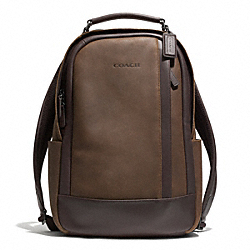 COACH CAMDEN LEATHER BACKPACK - GUNMETAL/DISTRESSED BROWN/BRN - F71060