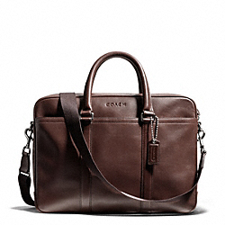 COACH LEXINGTON LEATHER ZIP TOP BRIEF - SILVER/MAHOGANY - F71066