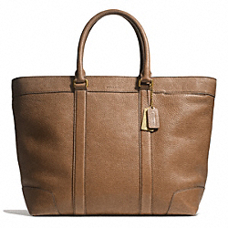 COACH BLEECKER PEBBLED LEATHER WEEKEND TOTE - BRASS/CIGAR - F71068