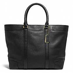 COACH BLEECKER WEEKEND TOTE IN PEBBLE LEATHER - BRASS/BLACK - F71068