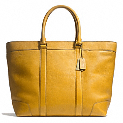 COACH BLEECKER PEBBLED LEATHER WEEKEND TOTE - BRASS/MUSTARD - F71068