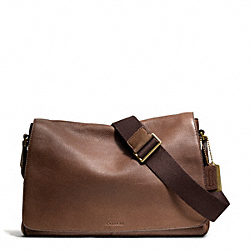 BLEECKER PEBBLED LEATHER COURIER BAG - BRASS/CIGAR - COACH F71070
