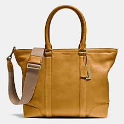 COACH BLEECKER BUSINESS TOTE IN PEBBLE LEATHER - BRASS/MUSTARD - F71099