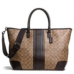 COACH HERITAGE SIGNATURE WEEKEND TOTE - SILVER/KHAKI/BROWN - COACH F71130