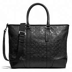EMBOSSED C UTILITY TOTE - f71136 - SILVER/BLACK