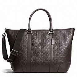 COACH HERITAGE WEB LEATHER EMBOSSED C WEEKEND TOTE - SILVER/BROWN - F71138