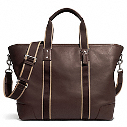 COACH HERITAGE WEB LEATHER WEEKEND TOTE - SILVER/BROWN - F71169