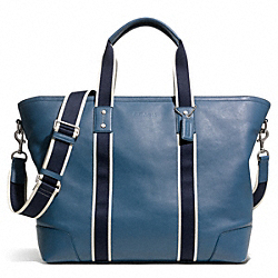 COACH HERITAGE WEB LEATHER WEEKEND TOTE - SILVER/MARINE - F71169