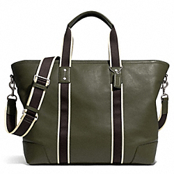COACH HERITAGE WEB LEATHER WEEKEND TOTE - SILVER/OLIVE - F71169