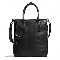 COACH HERITAGE WEB LEATHER BUSINESS TOTE - BRASS/BLACK - F71170