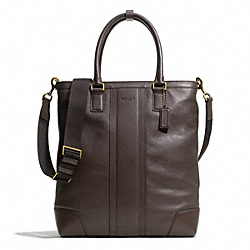 COACH HERITAGE WEB LEATHER BUSINESS TOTE - BRASS/MAHOGANY - F71170