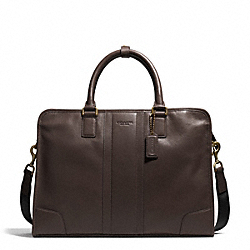 HERITAGE WEB LEATHER SLIM BRIEF - BRASS/MAHOGANY - COACH F71171