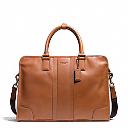 HERITAGE WEB LEATHER SLIM BRIEF - BRASS/SADDLE - COACH F71171
