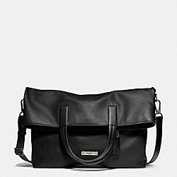 THOMPSON FOLDOVER TOTE IN LEATHER - f71184 -  ANTIQUE NICKEL/BLACK