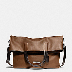 THOMPSON FOLDOVER TOTE IN LEATHER - f71184 -  SILVER/SADDLE