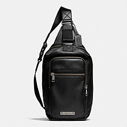 COACH THOMPSON DAY PACK IN LEATHER - ANTIQUE NICKEL/BLACK - F71185