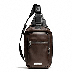 COACH THOMPSON LEATHER DAY PACK - SILVER/MAHOGANY - F71185