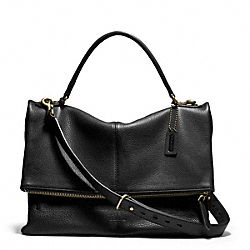 COACH BLEECKER LENNOX BAG IN PEBBLE LEATHER - BRASS/BLACK - F71186