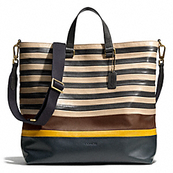 BLEECKER DAY TOTE IN BAR STRIPE LEATHER - B4C9V - COACH F71197