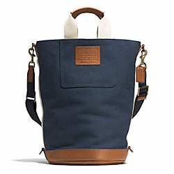 COACH HERITAGE BEACH CANVAS SOLID BARREL BAG - AB/NAVY/SADDLE - F71272
