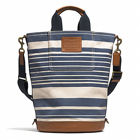 COACH HERITAGE BEACH CANVAS VINTAGE STRIPE BARREL BAG - AB/NAVY MULTI/SADDLE - f71275