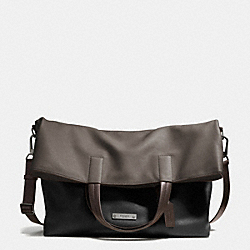 COACH THOMPSON FOLDOVER TOTE IN COLORBLOCK LEATHER - BK/SLATE/BLACK - F71292