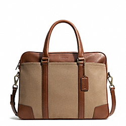 BLEECKER ARCHIVAL TWILL SLIM BRIEF - BRASS/JUTE/FAWN - COACH F71300