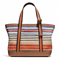 COACH BLEECKER STRIPED CANVAS BEACH TOTE - BRASS/SAMBA - F71310