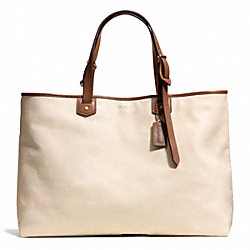 COACH BLEECKER LEATHER HOLDALL - BRASS/PARCHMENT - F71312
