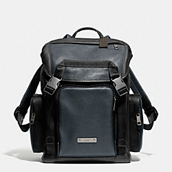 COACH THOMPSON BACKPACK IN COLORBLOCK LEATHER - BLACK ANTIQUE NICKEL/NAVY/BLACK - F71317