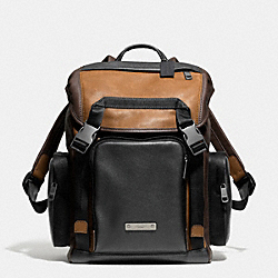 COACH THOMPSON BACKPACK IN COLORBLOCK LEATHER - BLACK ANTIQUE NICKEL/SADDLE/BLACK - F71317