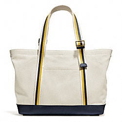 COACH BLEECKER BEACH TOTE IN CANVAS - BRASS/NATURAL - F71321