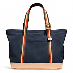 COACH BLEECKER BEACH TOTE IN CANVAS - BRASS/NAVY - F71321