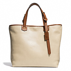 COACH BLEECKER LEATHER SMALL HOLDALL - BRASS/PARCHMENT - F71329