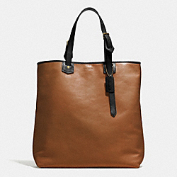 COACH BLEECKER LEATHER SHOPPER - BRASS/FAWN - F71332