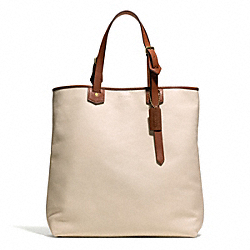 COACH BLEECKER LEATHER SHOPPER - BRASS/PARCHMENT - F71332