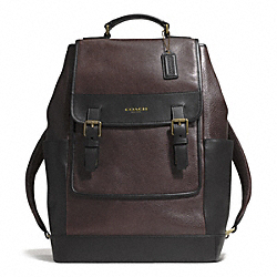 COACH ESSEX LEATHER BACKPACK - GUNMETAL/BARK/DARK BROWN - F71334