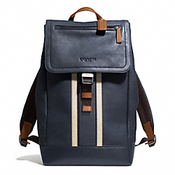 COACH HERITAGE SPORT BACKPACK - SILVER/NAVY/SADDLE - F71350