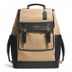 COACH ESSEX CANVAS BACKPACK - GUNMETAL/BARLEY/BLACK - F71381