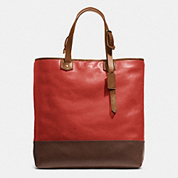 COACH BLEECKER SHOPPER IN COLORBLOCK LEATHER - BRASS/RED CURRANT/FAWN - F71395
