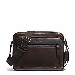 COACH ESSEX LEATHER FLIGHT CASE - GUNMETAL/BARK/DARK BROWN - F71414