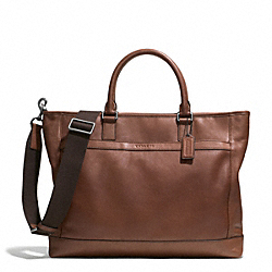 COACH CAMDEN LEATHER BUSINESS TOTE - GUNMETAL/CLASSIC TOBACCO - F71416