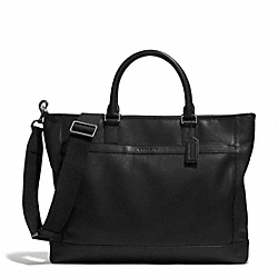 COACH CAMDEN LEATHER BUSINESS TOTE - GUNMETAL/CLASSIC BLACK - F71416