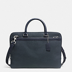 COMPACT BRIEF IN SAFFIANO LEATHER - SILVER/NAVY - COACH F71417
