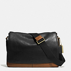 BLEECKER COURIER BAG IN COLORBLOCK LEATHER - BRASS/BLACK/FAWN - COACH F71424