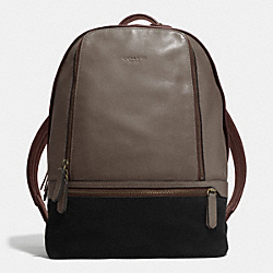 COACH BLEECKER TRAVELER BACKPACK IN LEATHER AND SUEDE - BRASS/SLATE/BLACK - F71425