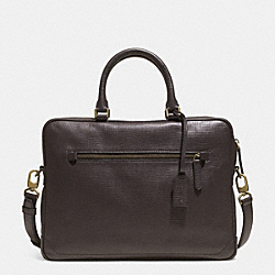 CROSBY SLIM BRIEF IN BOX GRAIN LEATHER - BRASS/SLATE - COACH F71426