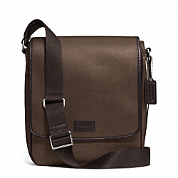 COACH HERITAGE CHECK MAP BAG - SILVER/ESPRESSO - F71430
