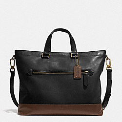 COACH BLEECKER URBAN COMMUTER IN COLORBLOCK LEATHER - BRASS/BLACK/MAHOGANY - F71453