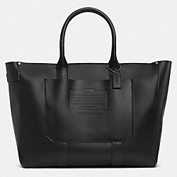 COACH RUSTIC LEATHER ZIP TOP TOTE - BRASS/BLACK - F71502